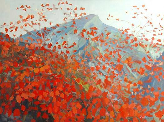 red-leaves-on-the-mountain-modern-painting-by-singapore-artist